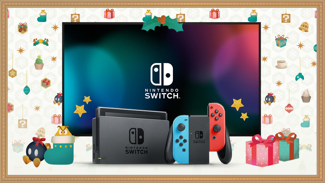 Image showing a Nintendo Switch system docked in front of a TV, next to two Joy-Con controllers attached to the Joy-Con Grip that comes included with the system.